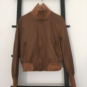 ✂️GAP Genuine Leather Jacket Brown Sz M